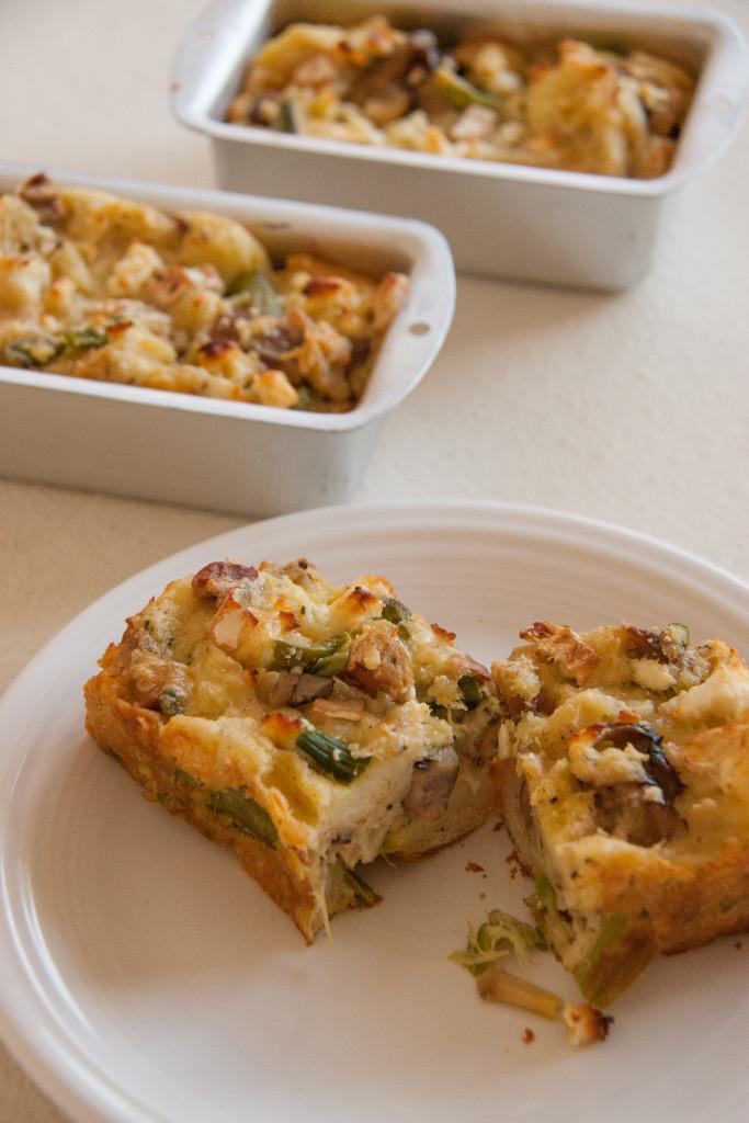 Asparagus & Mushroom Bread Pudding