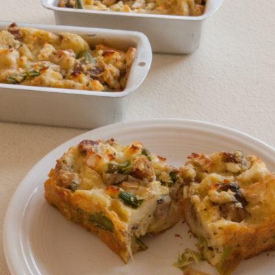 Easy Asparagus and Mushroom Bread Pudding Recipe
