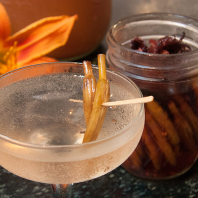 The Dirty Lily Bud Martini (a foraged adult beverage)
