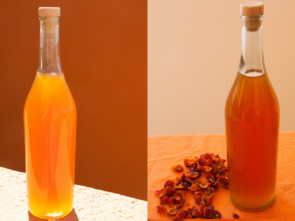 Rose hip syrup is both beautiful and full of vitamen C.