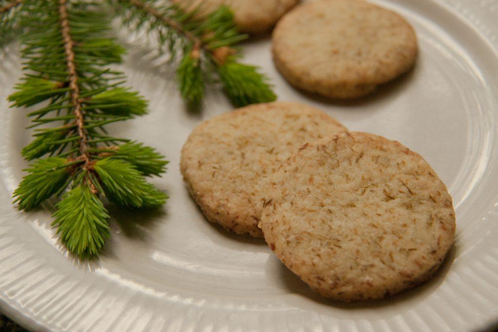 spruce tip shortbread cookies